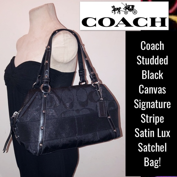 ... bag ffded 2a818 order coach signature stripe satin lux satchel bag  ffded 2a818  clearance black f58846 coach f15447 svzf powder pink signature  leather ... ac6e0e8c04e0b